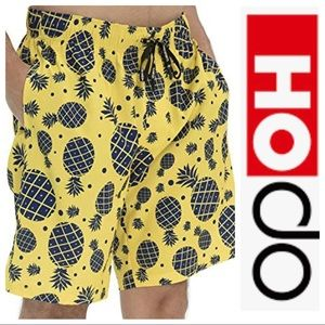HOdo Yellow Swim-trunks with Blue Pineapples